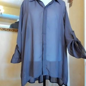 Maurices Gray Sheer Blouse W24/W26